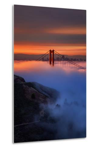 Magic Sunrise Light and Fog, Golden Gate Bridge, San Francisco-Vincent James-Metal Print