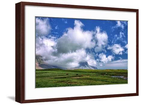 Epic Viking and Clouds Landscape, Stokknes Vestrahorn Iceland-Vincent James-Framed Art Print