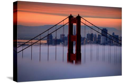 North Golden Gate Tower and Transamerica Pyramid at Dawn, San Francisco-Vincent James-Stretched Canvas Print
