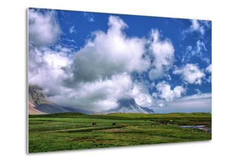 Epic Viking and Clouds Landscape, Stokknes Vestrahorn Iceland-Vincent James-Metal Print