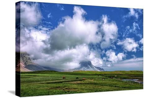 Epic Viking and Clouds Landscape, Stokknes Vestrahorn Iceland-Vincent James-Stretched Canvas Print