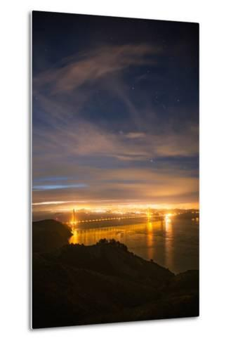 Classic Night View and Stars Over Golden Gate Bridge, San Francisco-Vincent James-Metal Print
