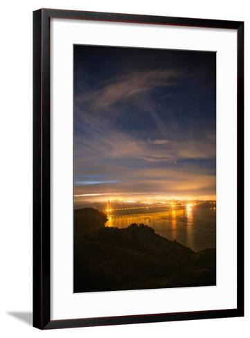 Classic Night View and Stars Over Golden Gate Bridge, San Francisco-Vincent James-Framed Art Print
