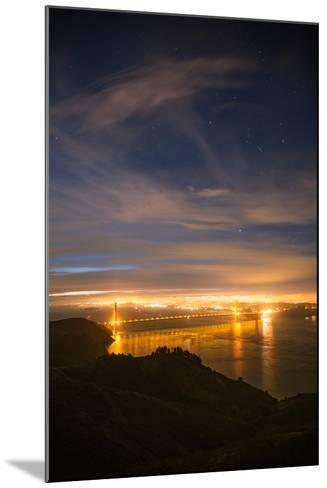 Classic Night View and Stars Over Golden Gate Bridge, San Francisco-Vincent James-Mounted Photographic Print