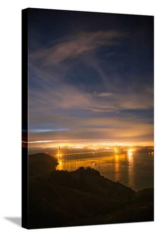 Classic Night View and Stars Over Golden Gate Bridge, San Francisco-Vincent James-Stretched Canvas Print