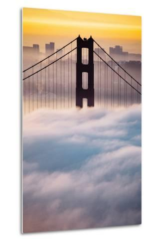 Morning Sunrise Fog, Beautiful Golden Gate Bridge, San Francisco Cityscape-Vincent James-Metal Print