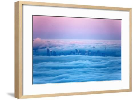 Pink Sunrise Morning Light and San Francisco in Fog Cityscape Urban-Vincent James-Framed Art Print