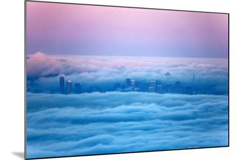 Pink Sunrise Morning Light and San Francisco in Fog Cityscape Urban-Vincent James-Mounted Photographic Print