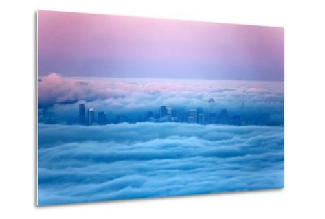 Pink Sunrise Morning Light and San Francisco in Fog Cityscape Urban-Vincent James-Metal Print