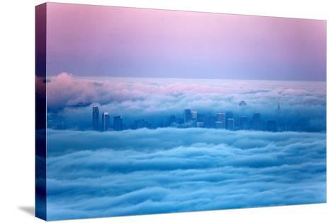 Pink Sunrise Morning Light and San Francisco in Fog Cityscape Urban-Vincent James-Stretched Canvas Print