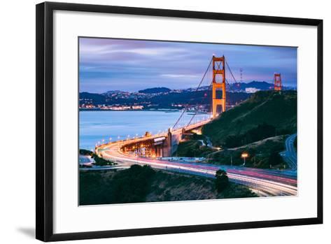 Before Sunrise On Approach North Side, Beautiful Golden Gate Bridge, San Francisco Cityscape-Vincent James-Framed Art Print