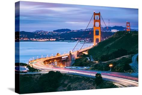 Before Sunrise On Approach North Side, Beautiful Golden Gate Bridge, San Francisco Cityscape-Vincent James-Stretched Canvas Print