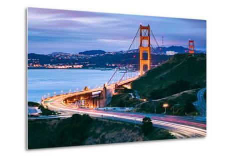 Before Sunrise On Approach North Side, Beautiful Golden Gate Bridge, San Francisco Cityscape-Vincent James-Metal Print