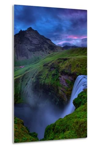 Mystery and Mood at Skógafoss, Waterfall Iceland-Vincent James-Metal Print