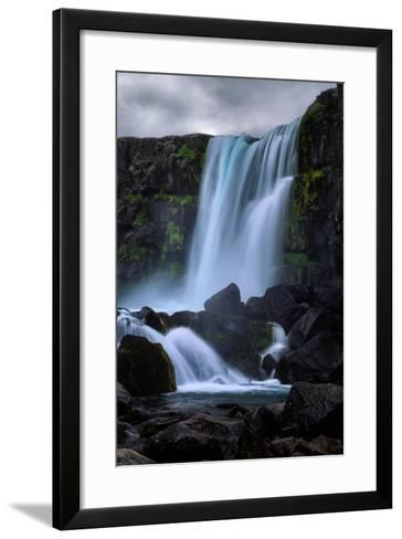 Blue Flow and Waterfall Mood, Öxarárfoss, Iceland-Vincent James-Framed Art Print