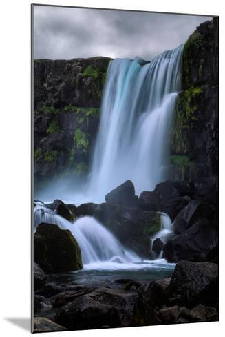 Blue Flow and Waterfall Mood, Öxarárfoss, Iceland-Vincent James-Mounted Photographic Print