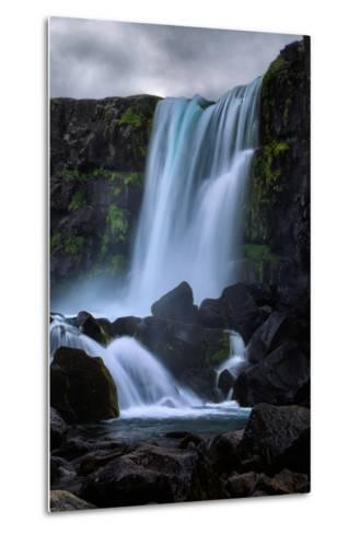 Blue Flow and Waterfall Mood, Öxarárfoss, Iceland-Vincent James-Metal Print