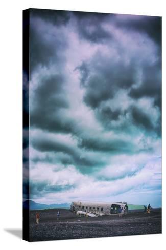 Sky Drama and Airplane Relic, Southern Iceland Coast-Vincent James-Stretched Canvas Print