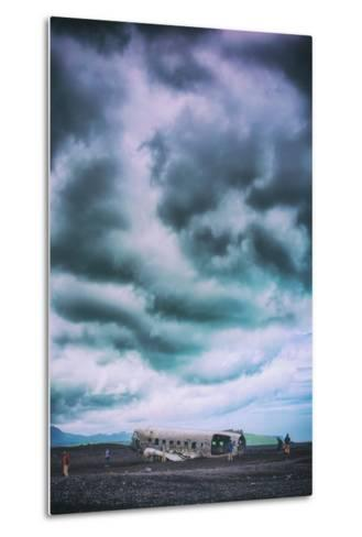 Sky Drama and Airplane Relic, Southern Iceland Coast-Vincent James-Metal Print