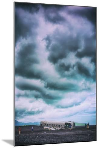 Sky Drama and Airplane Relic, Southern Iceland Coast-Vincent James-Mounted Photographic Print