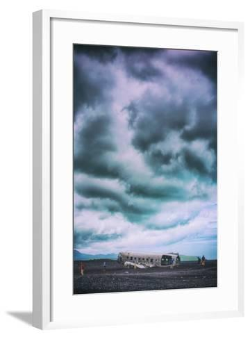 Sky Drama and Airplane Relic, Southern Iceland Coast-Vincent James-Framed Art Print