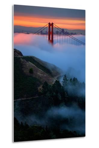 Dreamy Golden Sunrise and Fog, Golden Gate Bridge, San Francisco-Vincent James-Metal Print