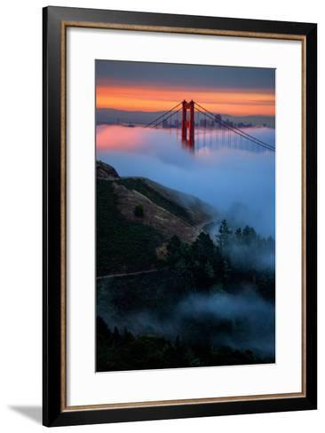 Dreamy Golden Sunrise and Fog, Golden Gate Bridge, San Francisco-Vincent James-Framed Art Print