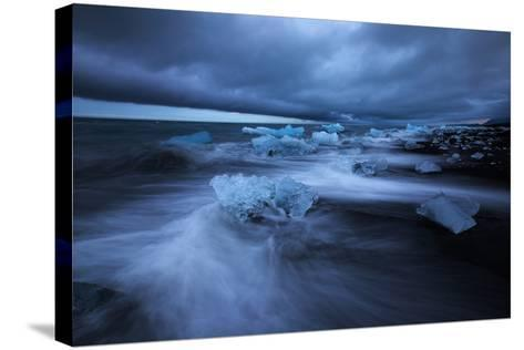 Dark Ice Beach, Jökulsárlón Southern Iceland-Vincent James-Stretched Canvas Print