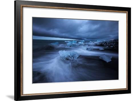 Dark Ice Beach, Jökulsárlón Southern Iceland-Vincent James-Framed Art Print