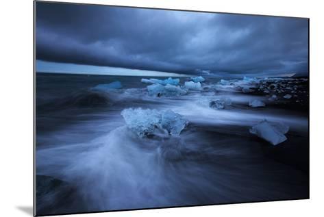 Dark Ice Beach, Jökulsárlón Southern Iceland-Vincent James-Mounted Photographic Print