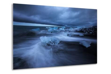 Dark Ice Beach, Jökulsárlón Southern Iceland-Vincent James-Metal Print