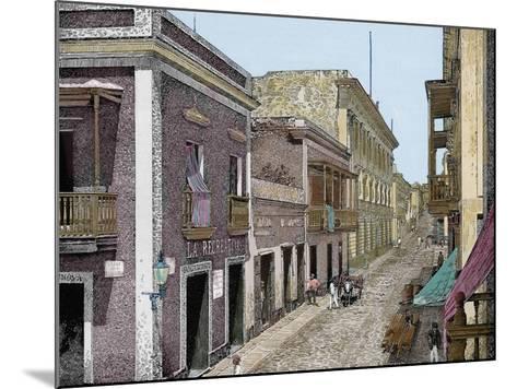 Puerto Rico,Calle de San José y Palacio de La Intendencia, La Ilustracion E-L. Urgellés-Mounted Giclee Print