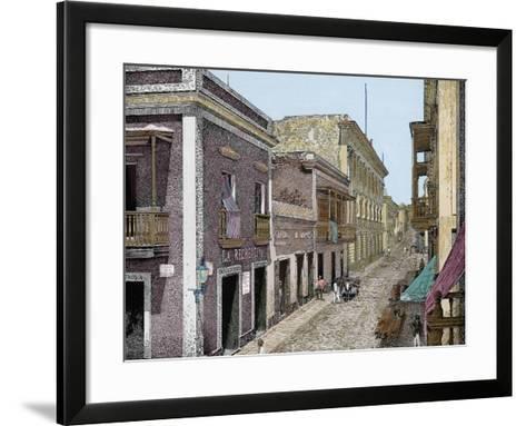 Puerto Rico,Calle de San José y Palacio de La Intendencia, La Ilustracion E-L. Urgellés-Framed Art Print