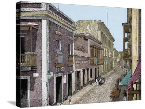 Puerto Rico,Calle de San José y Palacio de La Intendencia, La Ilustracion E-L. Urgellés-Stretched Canvas Print