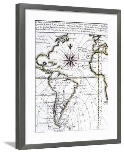 Map of the Atlantic Ocean from Newfoundland to Cape Horn, 1716-Amedee-Francois Frezier-Framed Art Print
