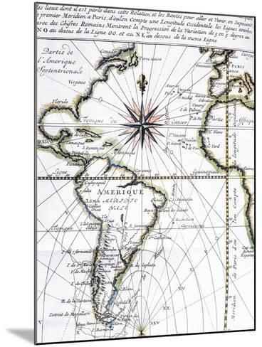 Map of the Atlantic Ocean from Newfoundland to Cape Horn, 1716-Amedee-Francois Frezier-Mounted Giclee Print