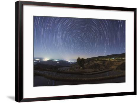 Polar Star Trails Above Honghe Hani Rice Terraces in Southwest China-Stocktrek Images-Framed Art Print