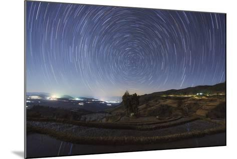 Polar Star Trails Above Honghe Hani Rice Terraces in Southwest China-Stocktrek Images-Mounted Photographic Print