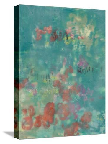 Teal Rose Garden II-Jennifer Goldberger-Stretched Canvas Print