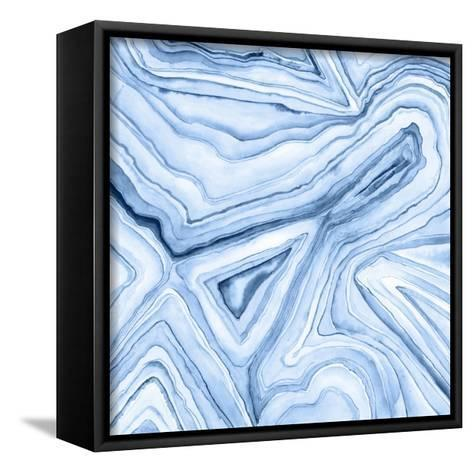 Indigo Agate Abstract I-Megan Meagher-Framed Canvas Print