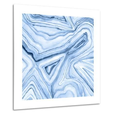 Indigo Agate Abstract I-Megan Meagher-Metal Print