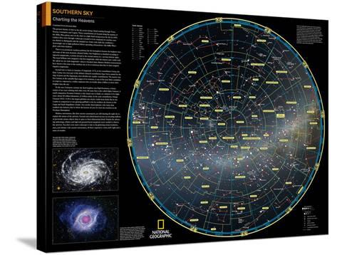 2014 Southern Sky - National Geographic Atlas of the World, 10th Edition-National Geographic Maps-Stretched Canvas Print