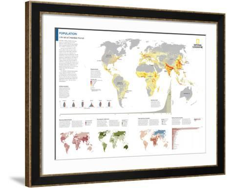 2014 Population - National Geographic Atlas of the World, 10th Edition-National Geographic Maps-Framed Art Print