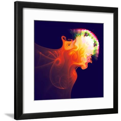 Abstract Jellyfish in the Ocean. Fractal Art Graphics-Artem Volkov-Framed Art Print