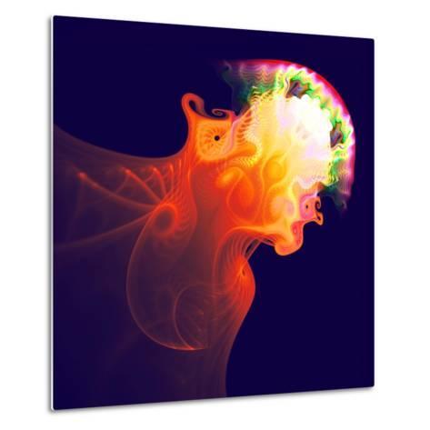 Abstract Jellyfish in the Ocean. Fractal Art Graphics-Artem Volkov-Metal Print