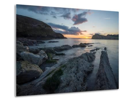 A View Along the Ledges at Lulworth Cove in Dorset-Chris Button-Metal Print
