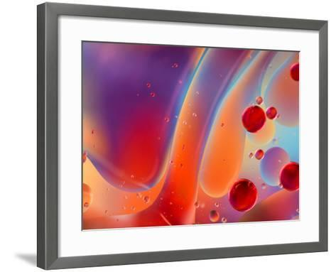Beautiful Abstract Colorful Background, Oil on Water Surface- Abstract Oil Work-Framed Art Print