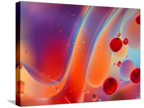 Beautiful Abstract Colorful Background, Oil on Water Surface- Abstract Oil Work-Stretched Canvas Print