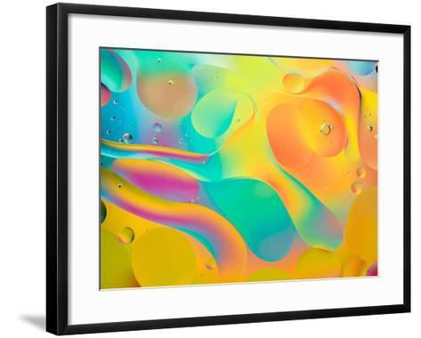 Abstract Colorful Background, Oil Drops on Water- Abstract Oil Work-Framed Art Print