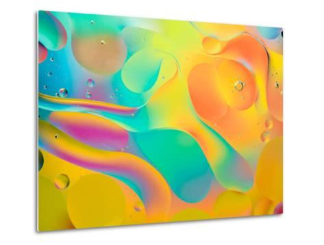 Abstract Colorful Background, Oil Drops on Water- Abstract Oil Work-Metal Print